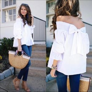 RESTOCKED! White Off Shoulder Bow Smocked Top